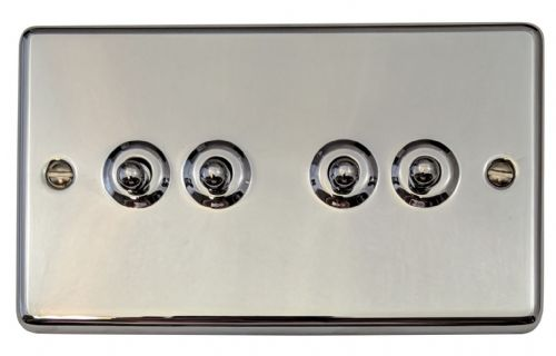 G&H CC284 Standard Plate Polished Chrome 4 Gang 1 or 2 Way Toggle Light Switch